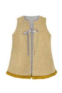 PIXIE vest /girl sleeveless vest with packets /child reversible fall winter vest /Grey with mustard with fringe finish