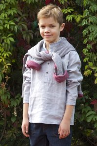 GINO shirt with buttons for boys gray
